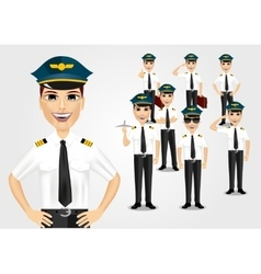 set of pilots vector image