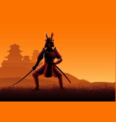 Silhouette a samurai vector