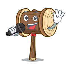 Singing mallet mascot cartoon style vector