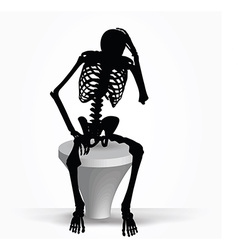 skeleton silhouette in thinking pose vector image