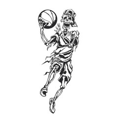 skeleton streetball player vector image