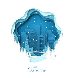 snowy detroit city merry christmas paper art vector image
