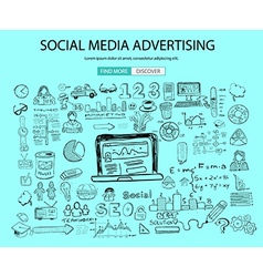Social Media Advertising concept with Doodle vector
