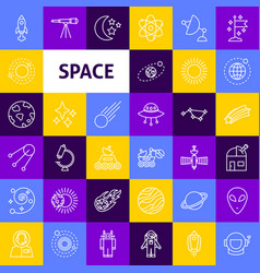 Space line icons vector