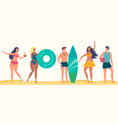 summer beach characters happy boys and vector image