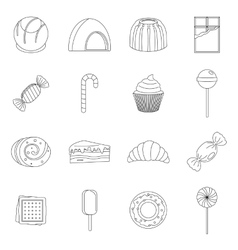 Sweets and candies icons set outline style vector