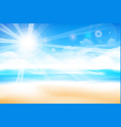 the beach over blur blue sky background 001 vector image