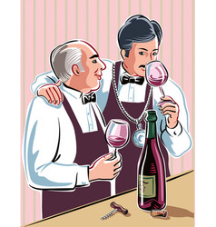 Two sommeliers vector