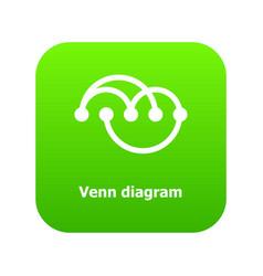 Venn diagramm icon green vector