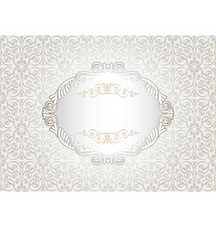 Vintage white frame on damask background vector image