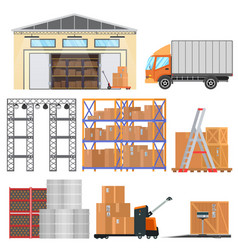 warehouse and logistic flat equipment icons vector image