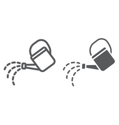 watering can line and glyph icon farming vector image