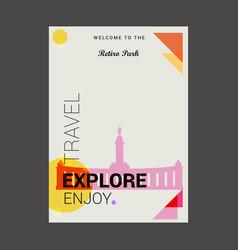 welcome to the retiro park madrid spain explore vector image