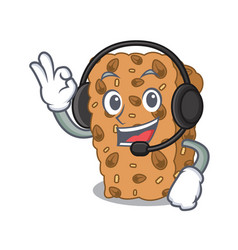 With headphone granola bar mascot cartoon vector