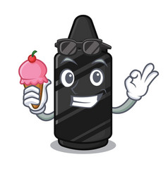 With ice cream black crayon in character shape vector