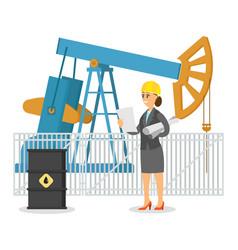 woman oil worker or engineer in helmet near vector image