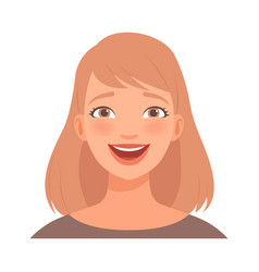 Young blond woman laughs joyfully vector
