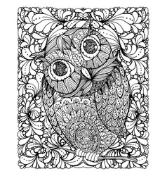Zentangle style owl with background vector