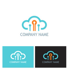 cloud connect technology company logo vector image