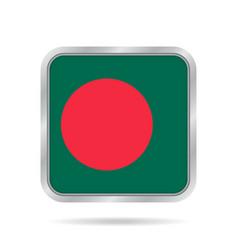 flag of bangladesh metallic gray square button vector image vector image