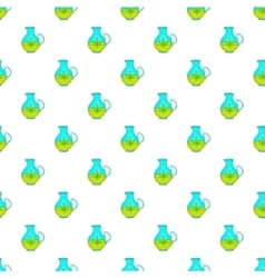 Hemp oil jug pattern cartoon style vector image