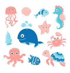 ocean set with cartoon sea animals vector image vector image