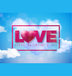 valentines day design with red heart balloon and vector image