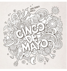 cinco de mayo cartoon hand drawn doodle vector image vector image