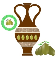 Greek Amphora Olives Icon on White Background vector image