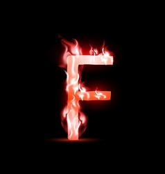 letter with red fire vector image vector image