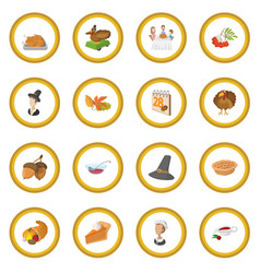 thanksgiving day cartoon icon circle vector image vector image