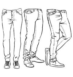 Hand drawn fashion design men denim vector image