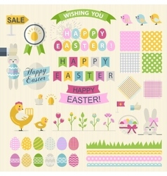 Happy Easter Set in flat style vector image