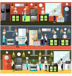 set of cook posters banners in flat style vector image vector image