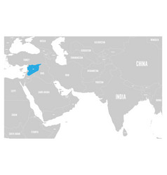 syria blue marked in political map of south asia vector image vector image