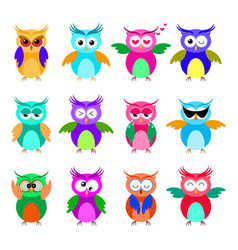 various cartoon owl emoticon set vector image vector image