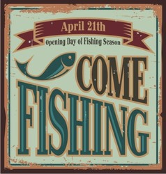Vintage fishing metal sign vector