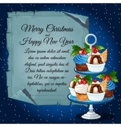 Cupcakes with holly berry and card for your text vector