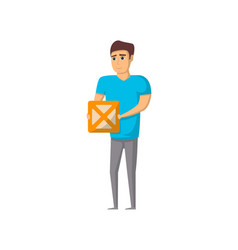 delivery service worker with box vector image vector image