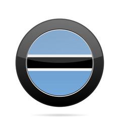 flag of botswana shiny black round button vector image