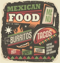 Mexican restaurant funky menu design concept vector image vector image