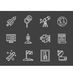 Space colonization simple white line icons vector