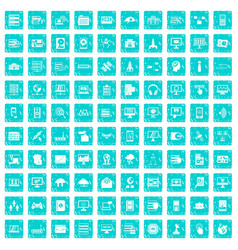 100 database and cloud icons set grunge blue vector image