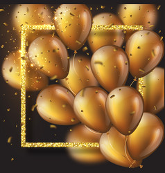 3d glossy golden ballons with frame and confetti vector