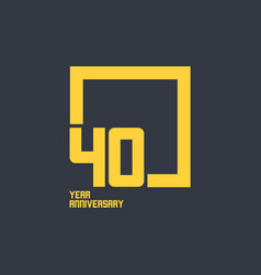 40 year anniversary square template design vector