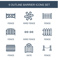 9 barrier icons vector