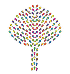abstract colorful tree made of stylized leaves vector image