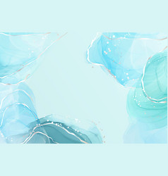 Abstract turquoise and teal blue liquid marbled vector