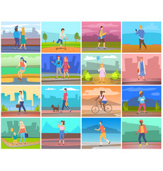 adult and children outdoor people activity vector image