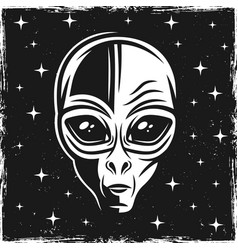 Alien head on dark background with stars vector